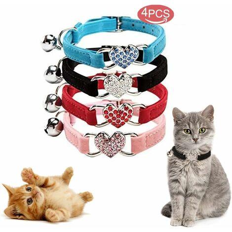 Collar para gatos LITZEE, collar ajustable para gatos hecho de terciopelo suave con campana, lindos artículos para mascotas, adecuado para la mayoría de gatos y perros pequeños (17cm-28cm) rosa + azul + negro + rojo