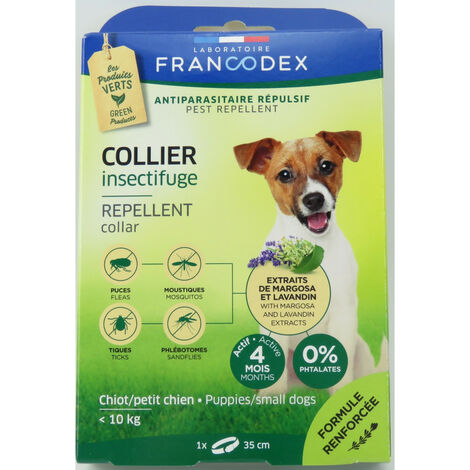 Collar repelente de insectos para cachorros y perros pequeños de menos de 10 kg. 35 cm