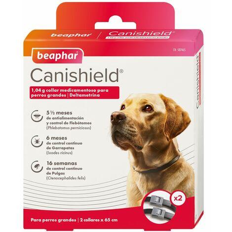 Collares Antiparasitarios CANISHIELD para perros Razas Grandes - Deltametrina de Triple Protección Flebotomos, Garrapatas y Pulgas - Pack 2 collares 65 cm