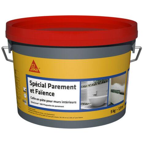 Colle à carrelage en pâte pour carreaux et plaquette de parement (D1-ET) - SIKA SikaCeram Basic - Ivoire - 5kg - Beige