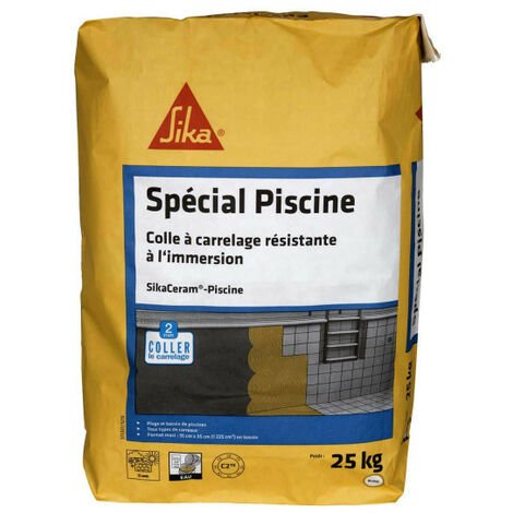 "main image of ""Colle à carrelage extérieur SIKA SikaCeram Piscine - 25kg - Blanc"""