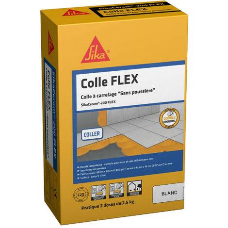 Colle à carrelage tous carreaux intérieur et extérieur (C2-ET-EG) - SIKA SikaCeram - 200FLEX - Blanc - 5kg