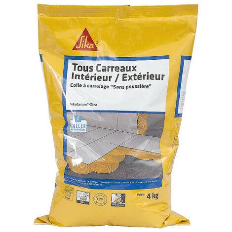 Colle à carrelage tous carreaux intérieur et extérieur (C2-ET) - SIKA SikaCeram Xtra - Gris - 4kg