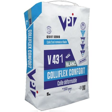 Colle carrelage facile COLLIFLEX CONFORT V431 BLANC - 15 kg