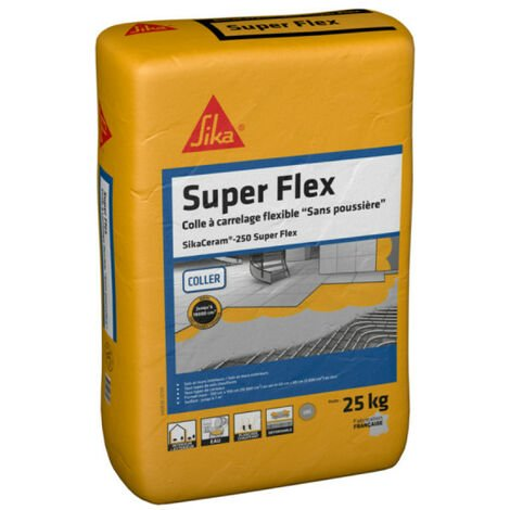 Colle carrelage spécial grand format (C2S1-ET) - SIKA SikaCeram Flex - Gris - 25kg
