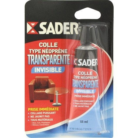 Colle contact néoprène transparente SADER - plusieurs modèles disponibles
