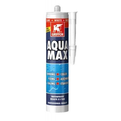 Colle de montage et mastic d'étanchéité AQUAMAX, coloris blanc, cartouche de 425g