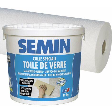 Colle en pâte pour toiles de verre Semin - prête à l'emploi - seau de 10 kg et toile de verre Sem Crepi Eco C 103 - motif crépi - 50 m x 1 m