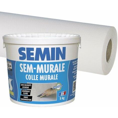 Colle en pâte pour toiles de verre Semin - prête à l'emploi - seau de 10 kg et toile de verre Sem Toile Eco T 023 - motif maille - 25 m x 1 m