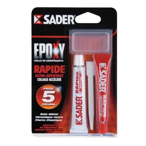 Colle époxy Sader rapide, kit de 2 tubes de 15 ml