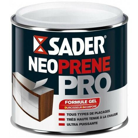 Colle néoprène PRO gel 500ml SADER bois et stratifié, caoutchouc, cuir et simili, liège, plastique rigide, métal