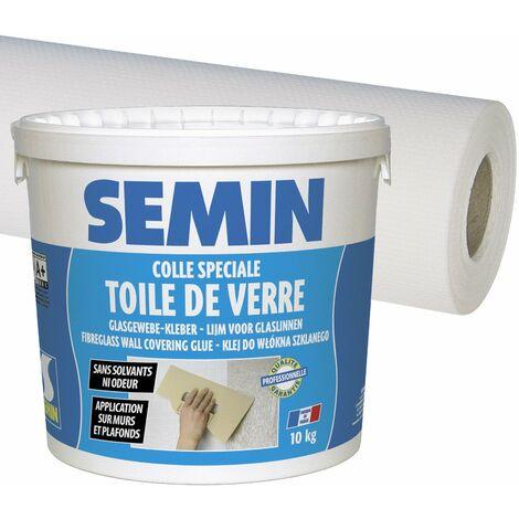 Colle pour toiles de verre et revêtements muraux légers en pâte Semin - seau 5 kg et toile de verre A01266 Sem Toile Eco T 023 - motif maille - 25 m x 1 m