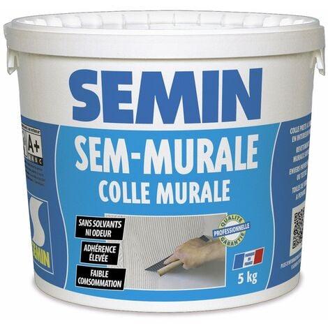 Colle pour toiles de verre et revêtements muraux légers en pâte Semin Sem-Murale - prêt à l'emploi - seau 5 kg