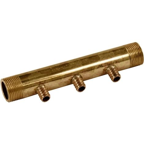 """Collecteur 3/4"""" (20/27) Mâle - 3 départs pour tube PER Ø12 - entraxe 40mm"""