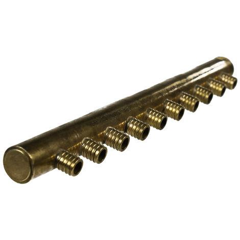 """Collecteur 3/4"""" (20/27) Mâle-Bouchonné 10 piquages à glissement pour tube PER diamètre 16 compris 10 bagues de 16"""