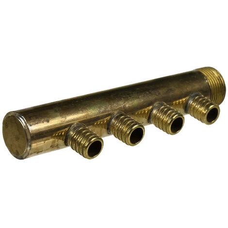"""Collecteur 3/4"""" (20/27) Mâle-Bouchonné 4 piquages à glissement pour tube PER diamètre 16 compris 4 bagues de 16"""