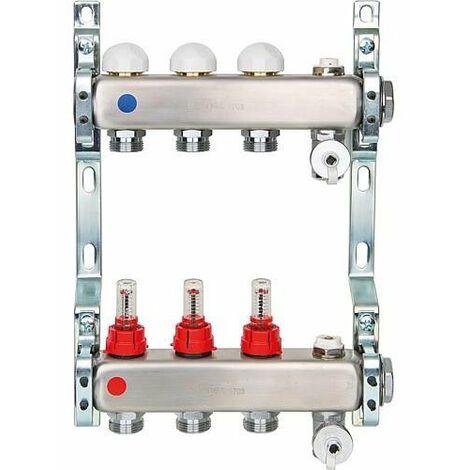 Collecteur de chauffage inox avec débimètre DN25(1) avec 9 circuits de chauffe