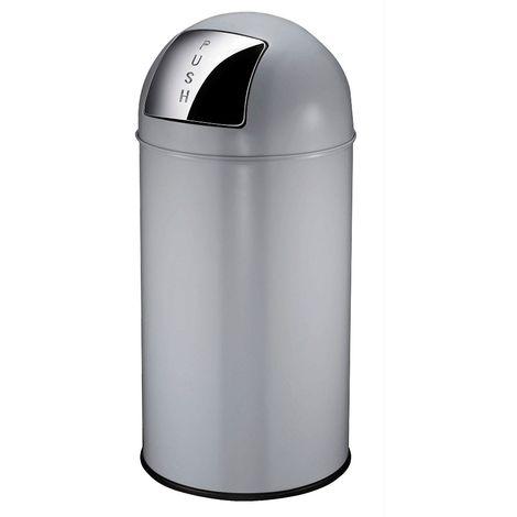 Collecteur de déchets à trappe BULLET PUSH, en tôle d'acier - capacité 40 l, h x Ø 740 x 340 mm - gris fer