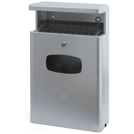 Collecteur de déchets avec cendrier, capacité 16 l, gris