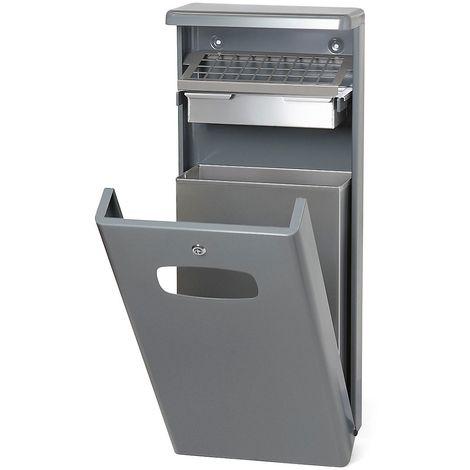 Collecteur de déchets avec cendrier, capacité 32 l, gris