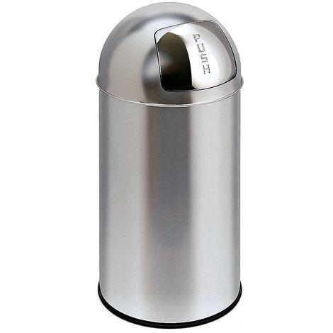 Collecteur de déchets en inox - BULLET PUSH, capacité 40 l - hauteur 740 mm, Ø 340 mm - Coloris poubelle: acier inoxydable