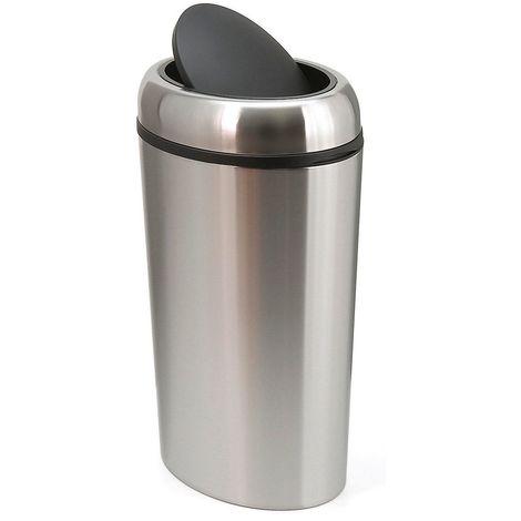 Collecteur de déchets en inox - SWING TOP ovale, capacité 40 l - hauteur 680 mm, Ø 400 mm - Coloris poubelle: acier inoxydable