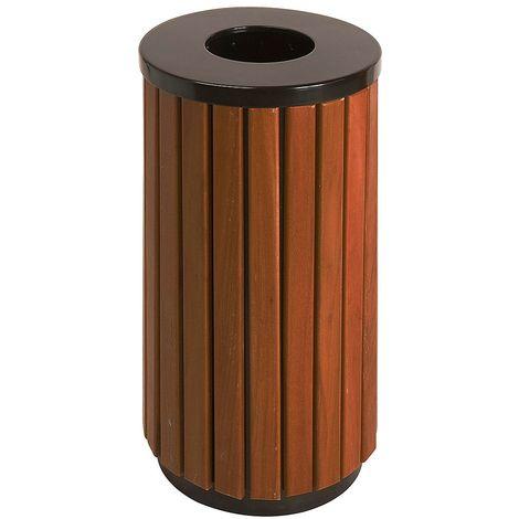 Collecteur de déchets façon bois, hauteur 755 mm, rond, avec 1 ouverture en haut