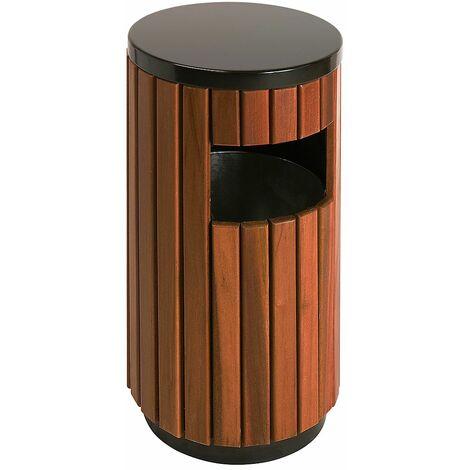 Collecteur de déchets façon bois, hauteur 755 mm, rond, avec 1 ouverture latérale
