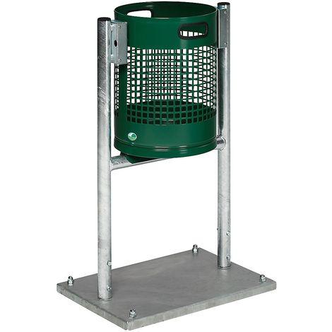Collecteur de déchets pour l'extérieur - capacité 30 l, avec châssis en tube - vert mousse