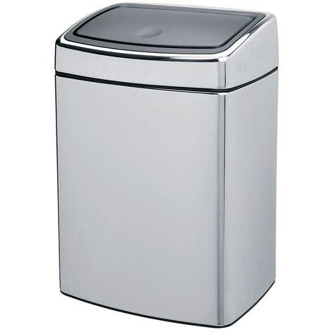 Collecteur de déchets Touch, inox, capacité 10 l, brillant - Coloris du couvercle: Aspect inox