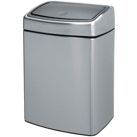 Collecteur de déchets Touch, inox, capacité 10 l, mat - Coloris du couvercle: Aspect inox