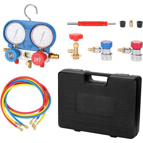 Collecteur Double Jauges Set De Refrigeration Des Outils De Mesure De Pression Kit Avec 3 Tuyaux Recharge, Bleu