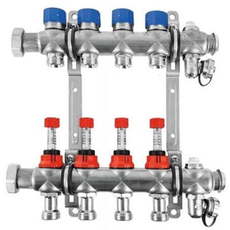 Collecteur FBH pour chauffage par le sol euro-cône 4 circuits