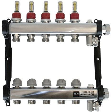 Collecteur inox avec débitmètre - Diamètre. 16 - 3 circuits avec débitmètre
