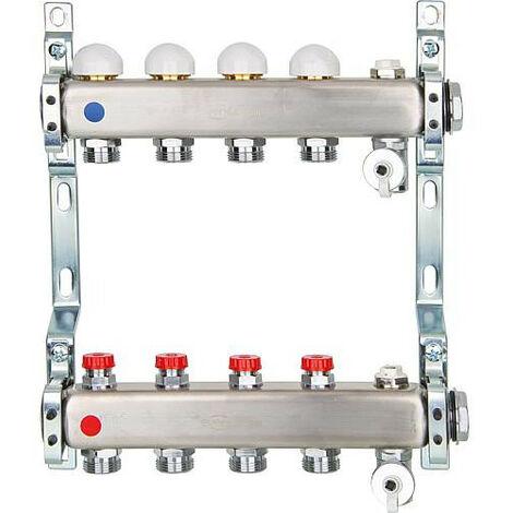 """Collecteur inox avec vanne intégrée DN25 (1"""") avec 4 circuits de chauffe"""