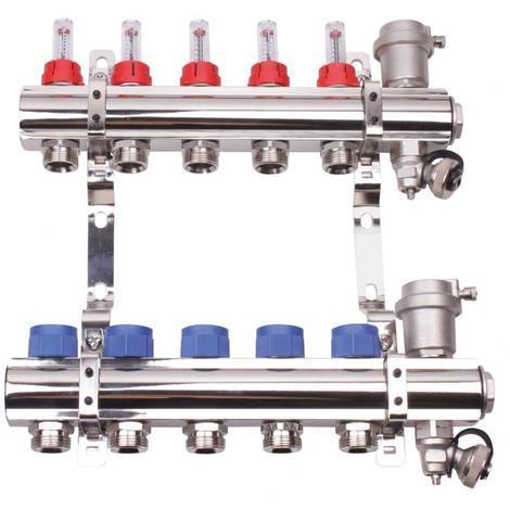 Collecteur laiton chrome pre-monte plancher chauffant basse temperature - entrées F26/34 - 2 départs 3/4EK