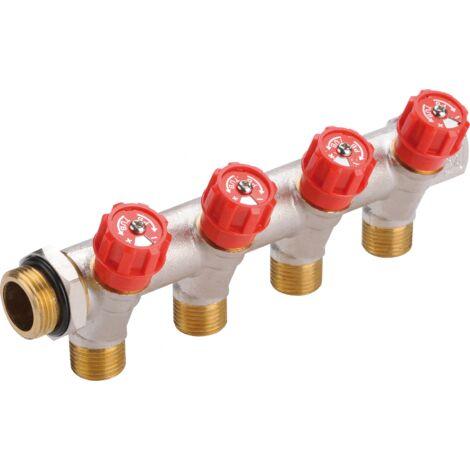 Collecteur sanitaire robinets intégrés rouge - Male Femelle 20x27 2 départs 15x21 Male