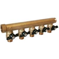 """Collecteur M/F avec mini-vannes - Arrivée 26x34mm(1"""") - Départ 15x21(1/2"""")"""