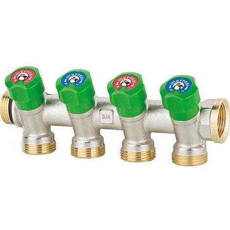"""Collecteur sanitaire 4 departs DN 20(3/4""""),PN16, verrouillable controle ACS laiton"""