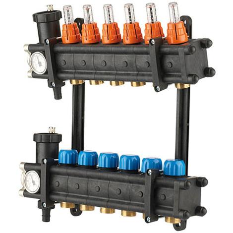 """Collecteurs PCBT F 1"""" avec débitmètres 10 départs M 3/4EK Composite"""