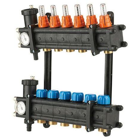 """Collecteurs PCBT F 1"""" avec débitmètres 4 départs M 3/4EK Composite"""