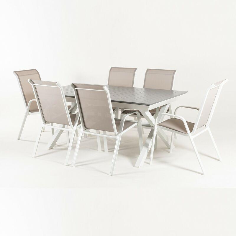 Ensemble d'extérieur table de jardin extensible 170/240 cm et 6 fauteuils empilables avec dossier de 96 cm, aluminium blanc et gris, 6 places