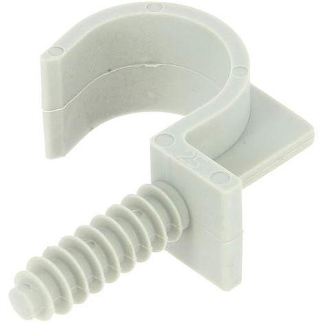 Collier cheville simple gris RAMCLIP pour gaine souple Ø25