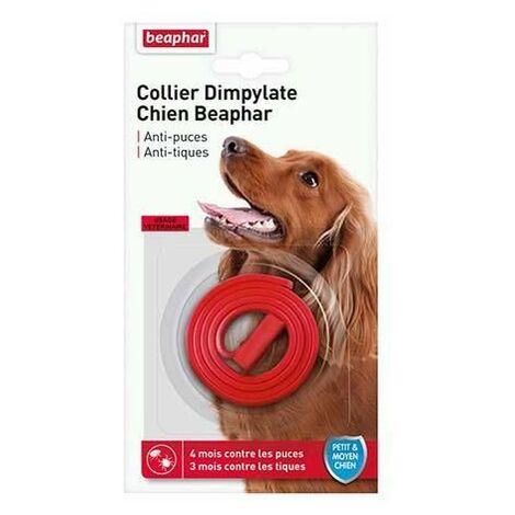 Collier dimpylate chien beaphar, anti-puces et tiques - rouge