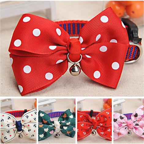 Collier pour chien Pet Cat Bell Dot Bow papillon noeud collier chat Collier boucle reglable chiot collier de chien Pet Supplies, marin rouge, M