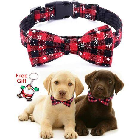Collier réglable pour chien/chat/animal domestique en nylon avec nœud papillonMotif neige, thème Noël, 100% coton rouge-L