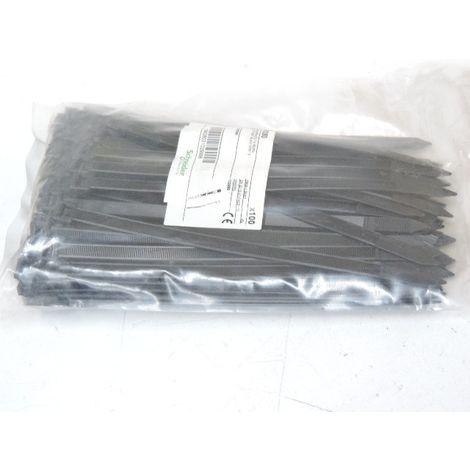 Collier serre-cable noir 203X7.6mm (blister de 100) pour fixation de fils et cables Ø 50mm exterieur anti-UV SCHNEIDER 3946350