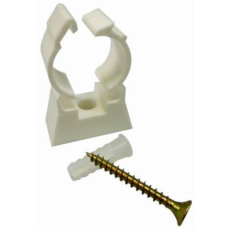 Collier simple en plastique pour fixation de tube multicouche nu NOYON & THIEBAULT - Ø 20 mm Vis de fixation et cheville fournies Sachet 10 pces - 8420-S10
