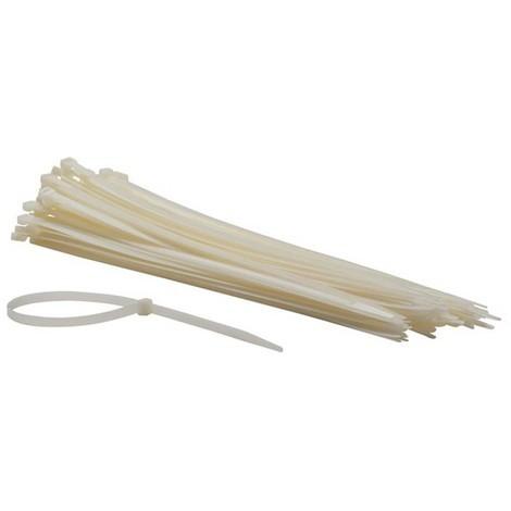 Colliers De Serrage En Nylon - 7.8 X 400 Mm - Blanc (100 Pcs)