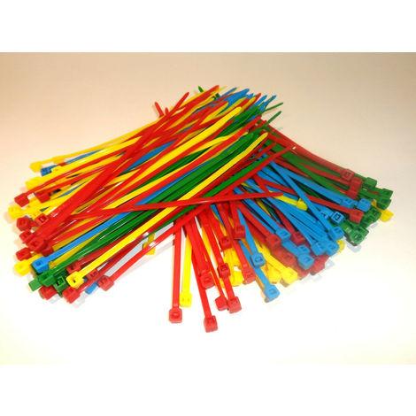 Colliers de serrage Rilsan Nylon de 4 couleurs 150 mm x 3.6 mm 200 pièces